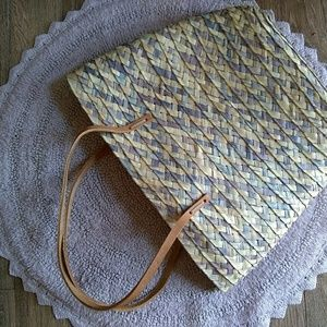 Handbags - Woven boho straw Lilac lavender beach bag